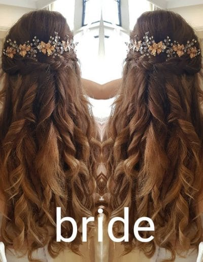 Bridal Hair Style on Location at clients house with Bride in her Wedding Dress